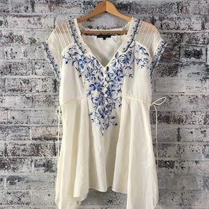 Nanette Lepore embroidered, silk, flowy top